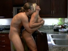 Horny wife Alexis Golden gets fucked in the kitchen.