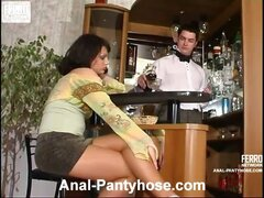Seductive chick in classy tights tricking barman into hot ass-banging bout