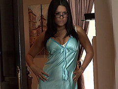 Eva Angelina in satin lingerie