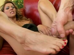 Cindy Hope gives a footjob and gets fucked in cowgirl position