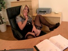 Perverted blonde secretary Tiffany Rousso sucking huge dildo