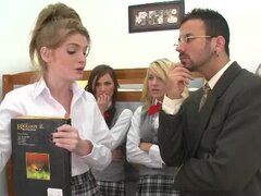 Sex scene with four slutty schoolgirls
