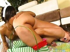 Lesbian Pussy Licking with Babes In Stockings
