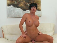 Sexy mama Shay Fox with appetizing tits riding on cock...