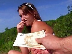 Busty amateur paid money for public sex