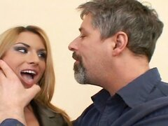 Slutty blonde gets stuffed in her ass and DP with a strapon wearing dude