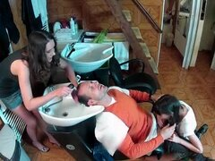 Blown in the salon as he gets his hair washed