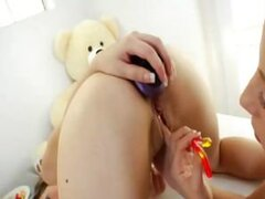 Beautiful babes inserting big toys in their gaping asses!