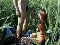 Teen fuck out in a field