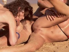 Sandy scrub for her pussy.Diana Gold & Virginie in threesome orgy.