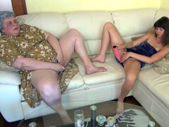 Fat granny and her teen partner get kinky