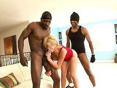 Black Monster Cock Threesome With A Slutty Blonde