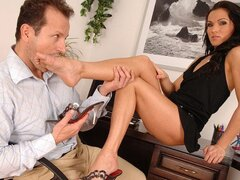 The new brunette babe in the office is stripped by her boss and banged brutally
