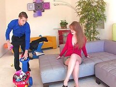 Horny Redhead Faye Reagan Blows and Fucks For Cum On Her Tits and Face