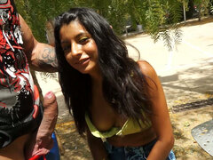 Blowjob at park performed by skinny tanned teen Rachel Woods