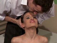 Black haired skinny young Amanda Baby with natural perky boobies and tight firm ass gets tied up and tortured by kinky dude in white shirt in memorable bondage fantasy.