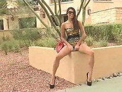 Long Legged Brunette Showing Her Tits and Pussy in Public