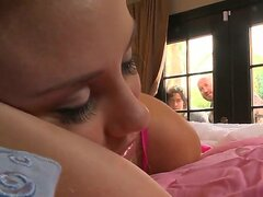 Hot blonde teen chick laying on her bed in sexy cute stockings and shoving her hand in sexy white panties to masturbate puss, she ends up with fucking on two hard dicks!