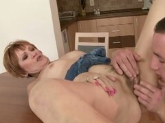 MILF sucks and fucks her younger friend