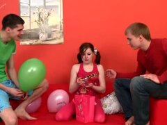 Teen beauty fucked by two boys on her birthday