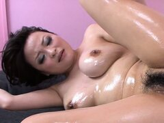 Oiled up japanese bimbo gets her hairy cunt pounded mad deep