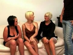 Movie showing an angry wife and her friends punishing her cheating CFNM hubby