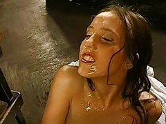 Loads of face pissing for wild beauty