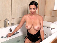 Baby with big saggy tits takes a bath