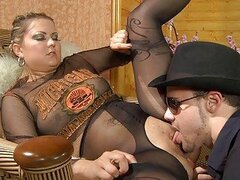 Chubby blonde ponrstar in pantyhose gets nailed hard