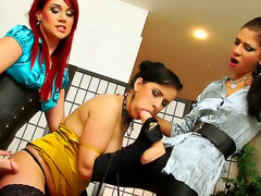 Leather and satin in messy lesbian scene