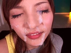 Yuria Kiritani blows and gets cum on her beautiful face