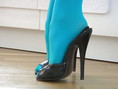 Teasing With Blue Pantyhose