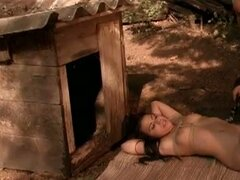 Hot lesbian master in filthy outdoor slave fun