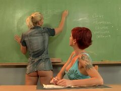 Hot teacher gets toyed deep and hard by horny blonde girl