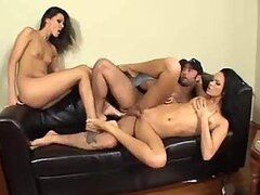 Two slender chicks have foot fetish sex with him