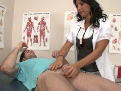 Filthy brunette doctor Lezley Zen gives handjob...