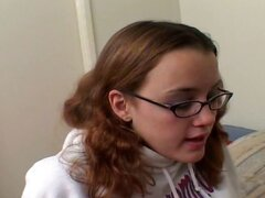 Nerdy young brunette schoolgirl eats his long dong and gets nailed