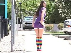 Pretty Girl in Coloful Socks Naked Outdoors in Public Under the Sun