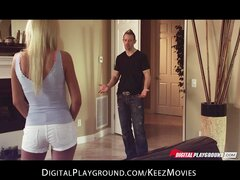 Stunning blonde bombshell Riley Steele seduces her masseur