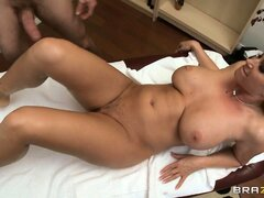 The gorgeous blonde has a great ass and sucks her masseuse's cock like she owns it