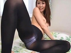 Naughty Asian Babe With Pantyhose Gives A Great Footjob