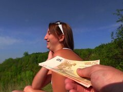 Filhy blonde whore Tereza gets paid for giving blowjob