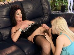 Nasty Nesty and Sandora are young and old lesbians eating pussy
