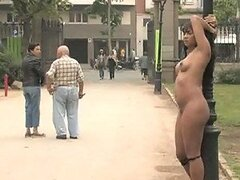 Curvaceous Ebony Babe Gets Tied To A Pole Naked In Public
