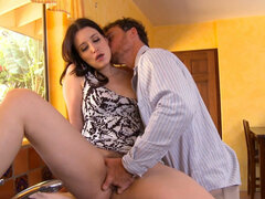 Brunette whore Kimberly Kane getting her hairy pussy fingered and licked hard
