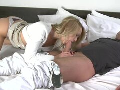 Blonde with nice ass and natural tits fuck in doggy style