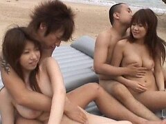 Horny Asian Swingers Swap Partners on the Beach