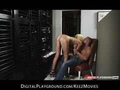 Horny big-tit HOT blonde girlfriend Riley Steele rides hard-dick