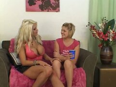 Horny lesbians kissing and stripping