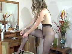 Paulina Hot Pantyhose Scene While Getting Dressed